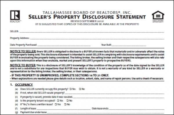 Florida Home Seller's Property Disclosure Require