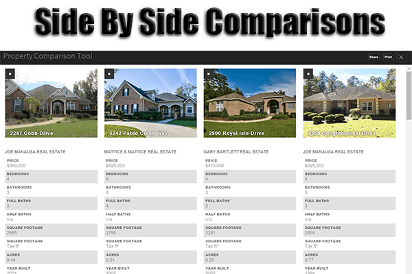 How to do a side by side home comparison in tallahassee for Side by side homes