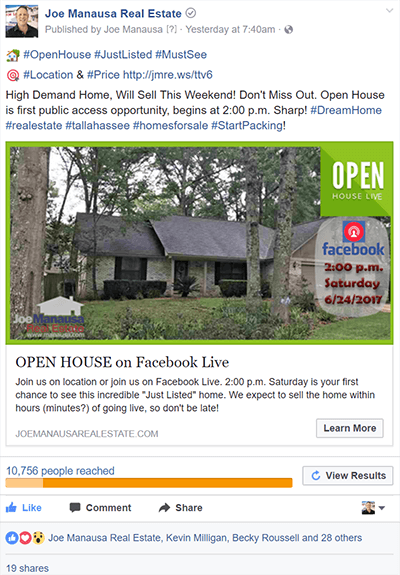 Facebook Marketing A Home For Sale