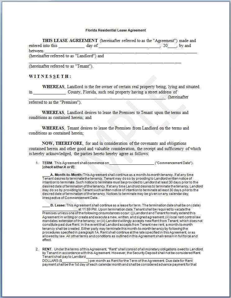 image of Standard Florida Residential Lease Agreement Sample