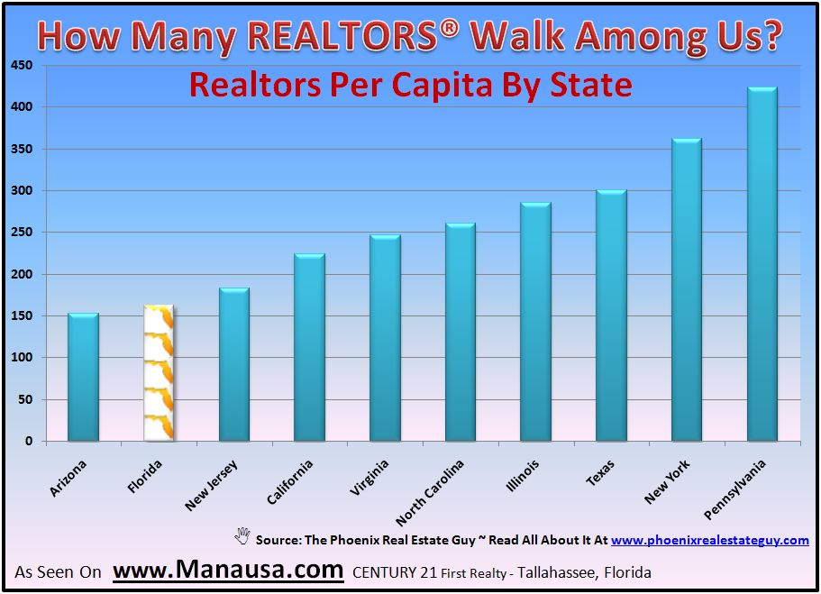 graph of REALTORS per Capita By State