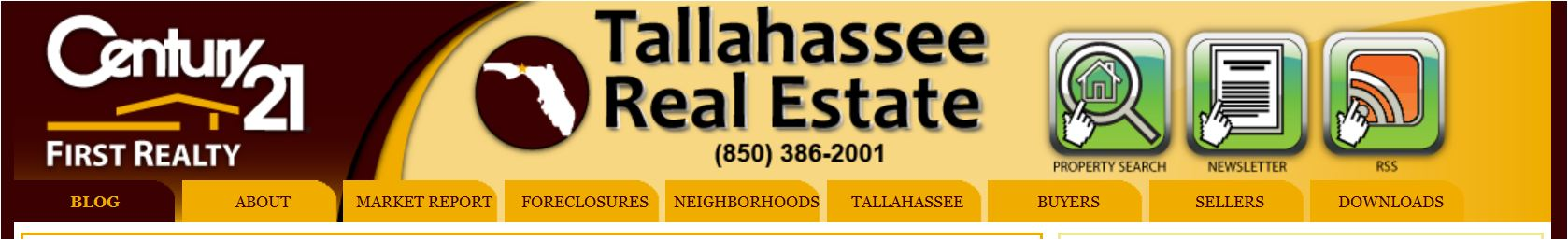 Tallahassee Real Estate Web Site Navigation
