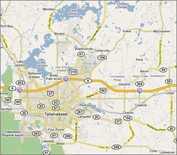 Map of Tallahassee Real Estate Market and Tallahassee Subdivisions and Tallahassee Neighborhoods